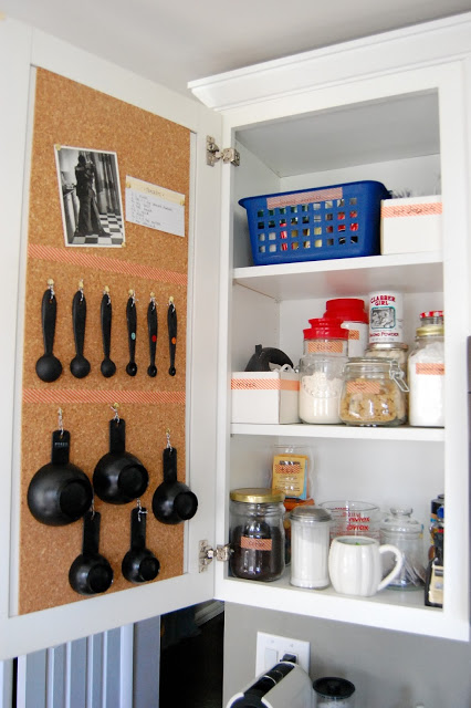 Cork Board Inside Of Kitchen Cabinets To Pin Recipes And Notes Easy Diy