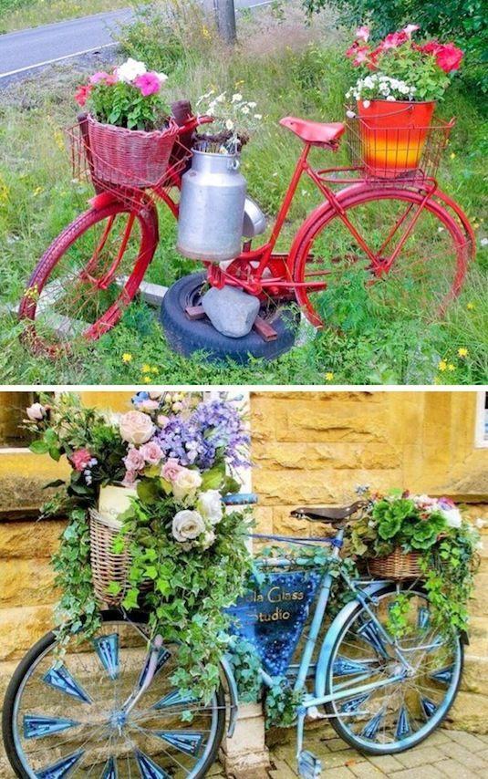 24 Idéias Creative Container Garden |  Plantadores de bicicleta!