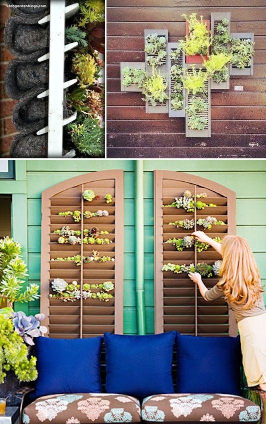 24 Idéias Creative Container Garden |  Cresça plantas e ervas em um obturador!  Ótimo para espaços pequenos ou cobrindo uma parede.