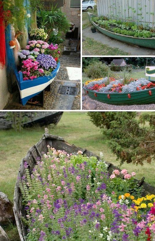 24 Idéias Creative Container Garden |  Barcos antigos como plantadores!