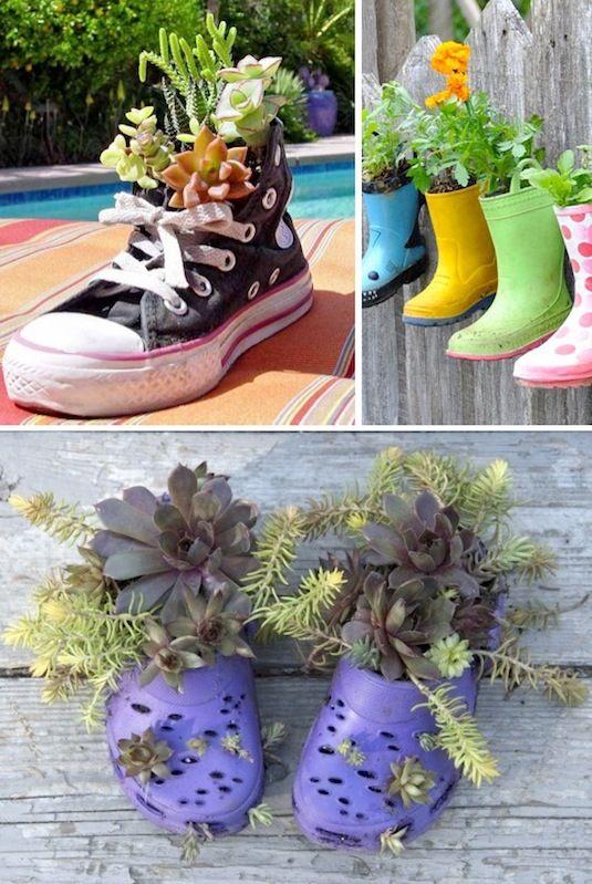 24 Idéias Creative Container Garden |  Plantadores de calçados!