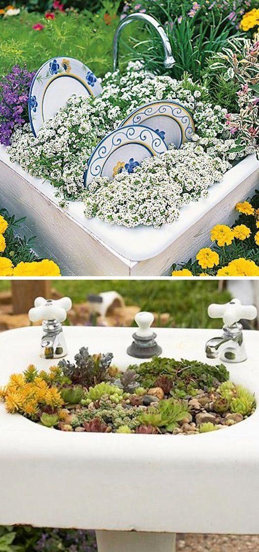 24 Idéias Creative Container Garden |  Cultivadores de lavatório!