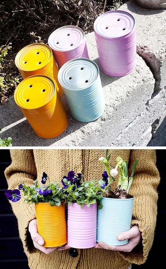 24 Idéias Creative Container Garden |  Plantadores de lata