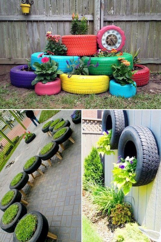 24 Idéias Creative Container Garden |  Plantadores de pneus!