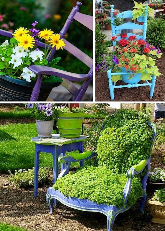24 Idéias Creative Container Garden |  Use cadeiras como plantadores e exibição de jardim!