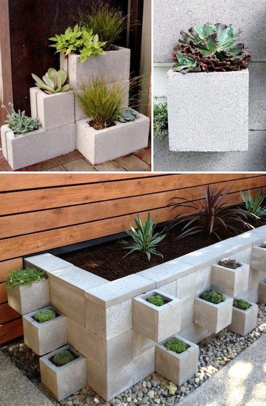 24 Idéias Creative Container Garden |  Use blocos de concreto como plantadores!