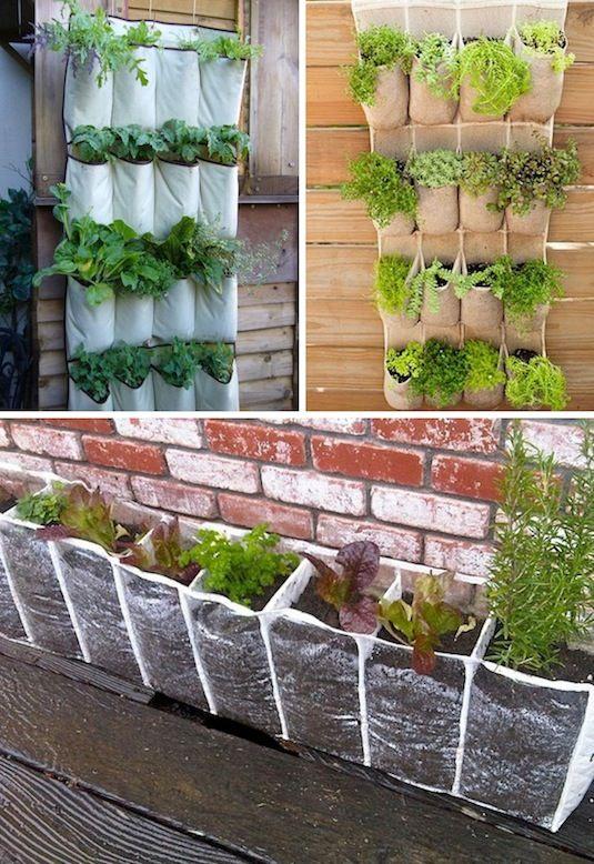 24 Idéias Creative Container Garden |  Use racks de sapato pendurado para cultivar um jardim vertical.
