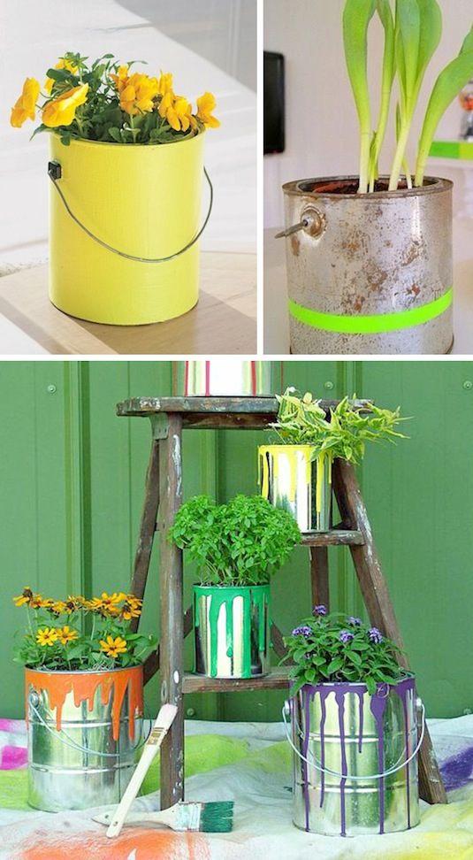 24 Idéias Creative Container Garden |  Use latas de tinta como plantadores!