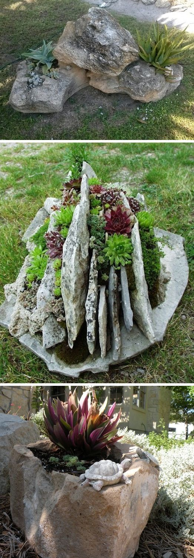 24 Idéias Creative Container Garden |  Use rochas como plantadores!