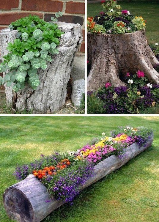 24 Idéias Creative Container Garden |  Use tobas de árvore e logs como plantadores!
