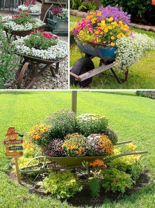 24 Idéias Creative Container Garden |  Use carretéis de rodas como plantadores!