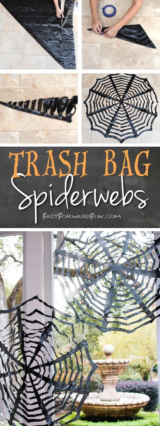 16 Awesome Homemade Decorations Easy Trash Bag Spider Webs
