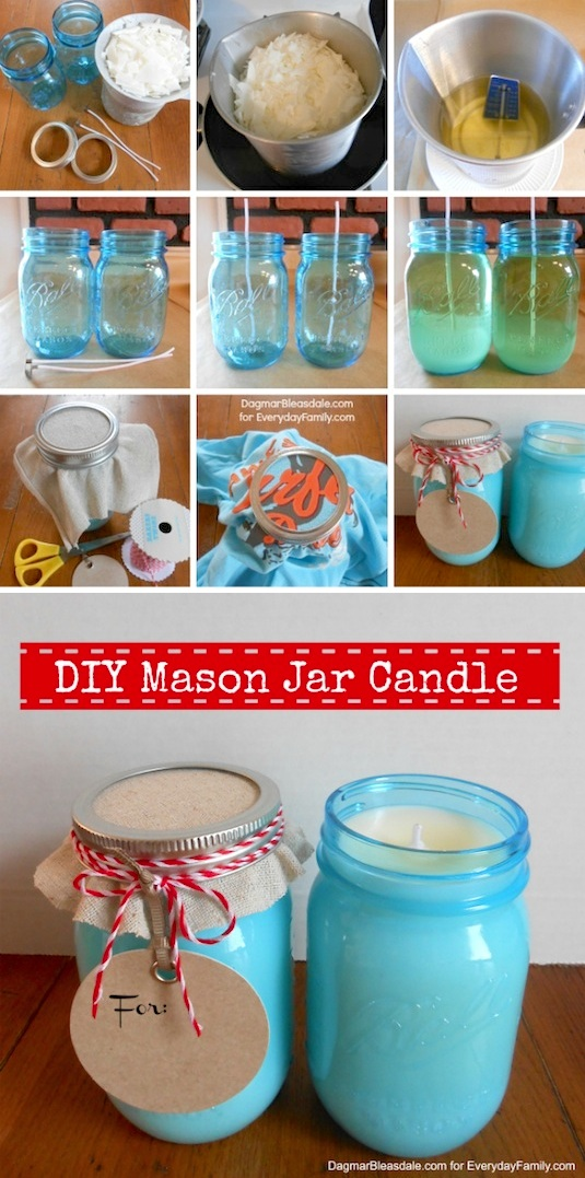 Diy Mason Jar Candles For Gifts Easy Gift Ideas Christmas